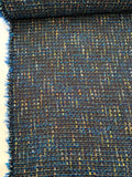 Italian Wool Blend Tweed - Blue / Yellow / Coral / Copper / White
