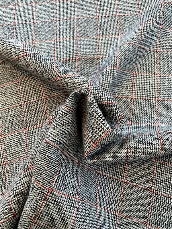 Italian Double-Face Glen Plaid and Speckled Jacket Weight Wool - Black / White / Grey / Red