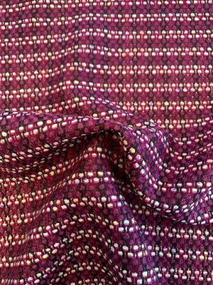 Italian Woven Striped Virgin Wool Blend Tweed - Grape Purple / Periwinkle / Black