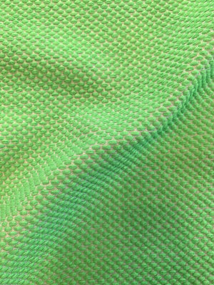 Italian Textured Dotted Weave Tweed Suiting - Bright Green / White