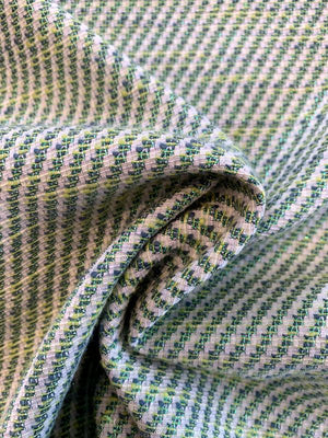 Italian Diagonal Striped Pattern Cotton Suiting with Lurex - Teal / Green / Lurex Green / Cream