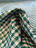 Italian Striped and Gingham Suiting with a Glossy Finish - Green / White