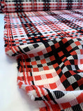 Italian Gingham Plaid Grid Cotton Blend Suiting - Red / Black / White
