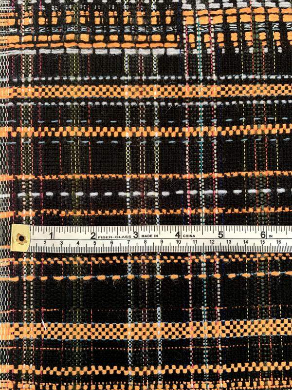 French Striped Weave Cotton Blend Suiting - Orange / Black / Grey