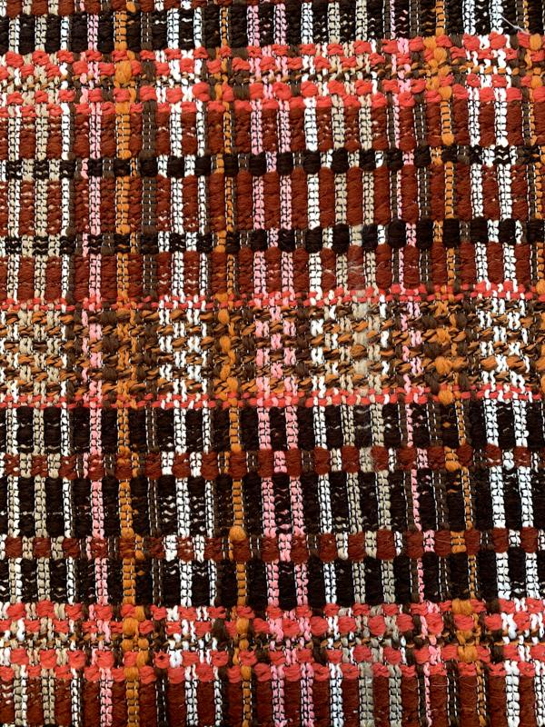 Italian Striped Thick Weave Suiting Blend - Shades of Brown / Coral / Orange