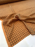 Italian Plain-Weave Virgin Wool Suiting with Houndstooth Print - Orange / Bronze