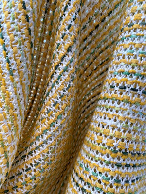 Italian Open Weave Classic Cotton Blend Suiting - Honey Yellow / Jade / White