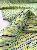 Italian Scattered Weave Cotton Blend Suiting - Neon Yellow / Turquoise / Black / White