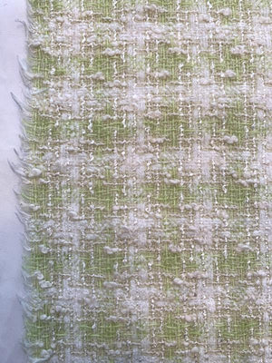 Italian Gingham Cotton Blend Boucle Tweed Suiting with Shimmer Threads - Celery Green / Off-White