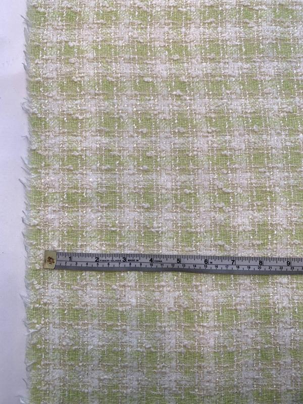 Italian Gingham Cotton Blend Boucle Tweed with Shimmer Threads - Celery Green / Off-White