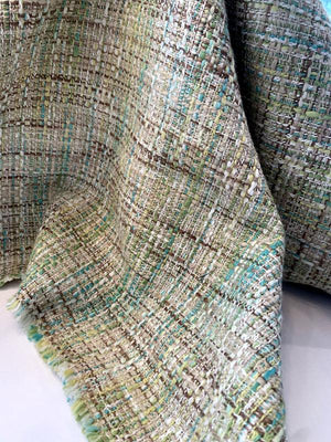 Italian Classic Woven Cotton Tweed Suiting - Shades of Green / Sand / Earth