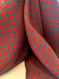 Italian Boxy Houndstooth Jacket-Weight Wool Suiting - Red / Postal Blue