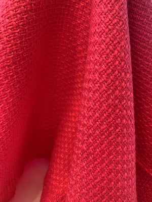 Italian Classic Basketweave Poly Blend Suiting - Hot Pink