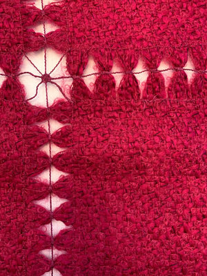 Italian Novelty Wool Blend Boucle with Novelty Open Design Pattern - Magenta