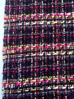 Fancy Acrylic Blend Tweed with Shimmer Threads - Plum / Magenta / Yellow / Light Pink