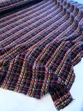 Fancy Acrylic Blend Tweed Suiting with Shimmer Threads - Plum / Magenta / Yellow / Light Pink