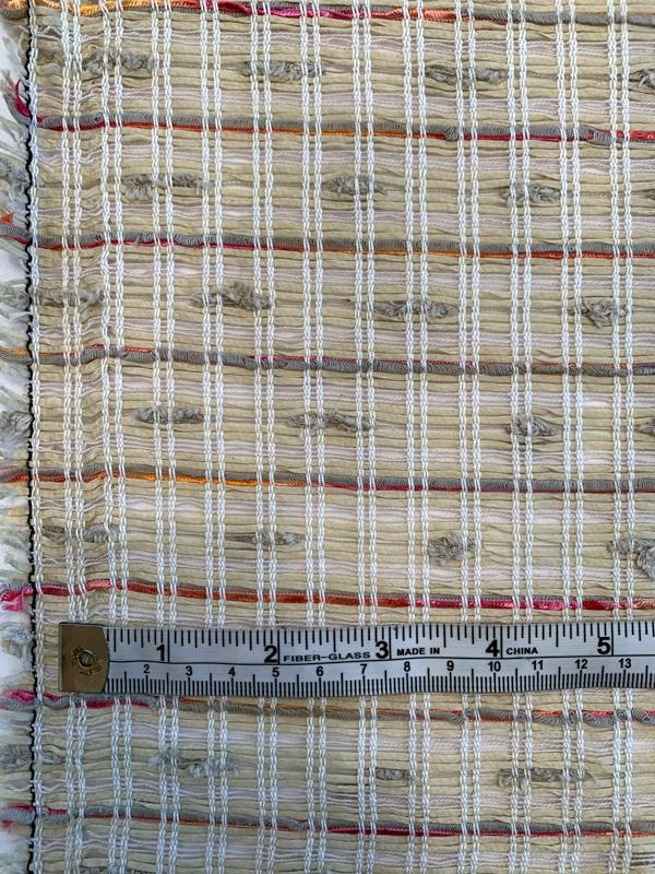 Italian Loosely Open Woven Cotton Blend Suiting with Nubs - Tan / Sand / Pink / Orange
