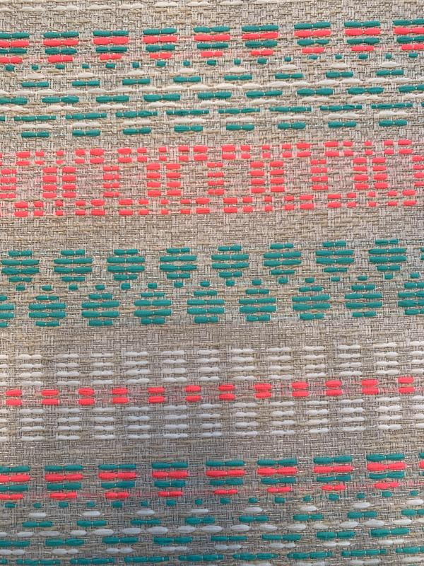French Modern Aztec Inspired Design Cotton Blend Suiting - Turquoise / Neon Pink / Grey