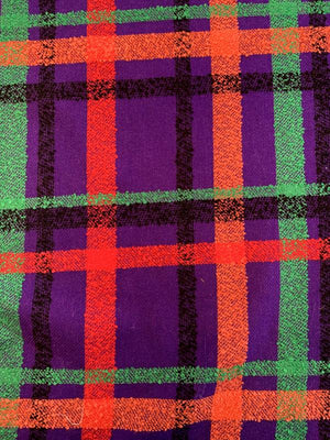 Italian Large-Scale Plaid Boucle Wool Blend Tweed - Purple / Red / Green / Orange