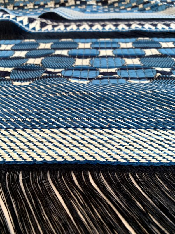 Italian Novelty Woven Suiting with Geometric Patterns - Blue / White / Black
