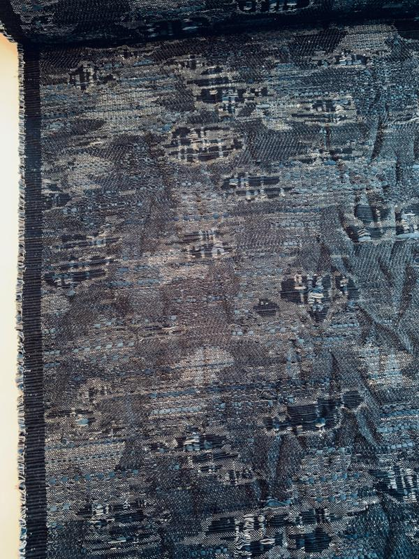 Italian Abstract Novelty Denim-Look Cotton Suiting - Denim Blue