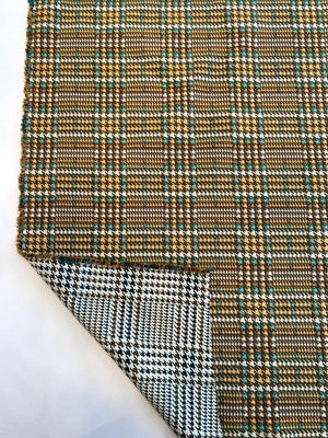 Italian Double-Sided Large Scale Glen Plaid Cotton Blend Jacquard Brocade - Orange / Bronze / Teal / Off-White