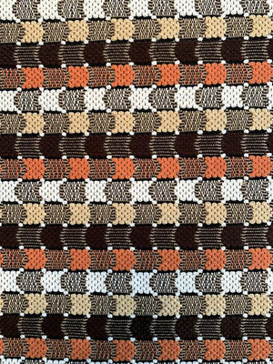 French Linear Design Cotton Blend Suiting - Orange / Brown / Tan / White
