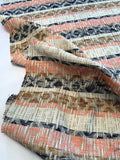 French Ethnic Inspired Raffia-Like Cotton Blend Suiting - Cream / Coral / Navy / Caramel