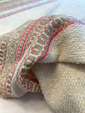 Italian Glam Boucle Tweed with Boho Chic Pattern - Off-White / Hot Pink / Gold