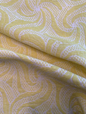 French Woven Swirl Pattern Suiting - Yellow / Off-White