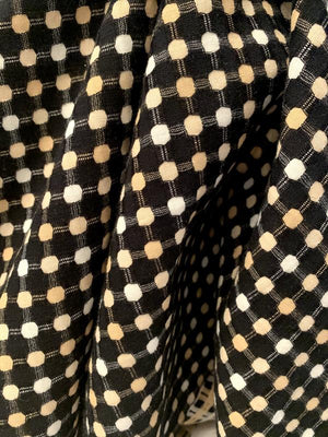Italian Geometric Grid Cotton Suiting - Black / White / Nude