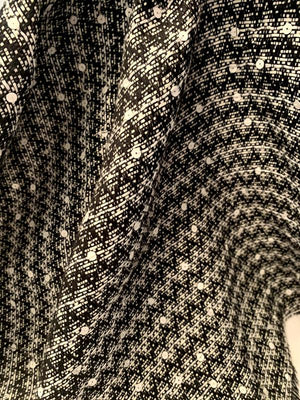 Italian Classic Cotton Blend Tweed Suiting with Scattered Sequins - Black / White