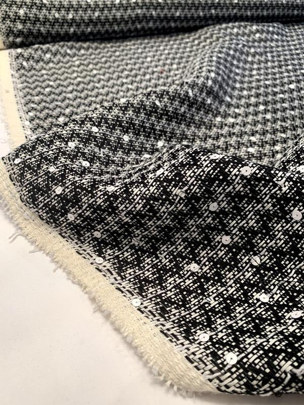 Italian Cotton Blend Chevron Tweed with Scattered Sequins - Black / White