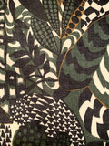 Italian Abstract Leaf Collage Printed Wool Rayon Challis - Army Green / White / Caramel / Charcoal