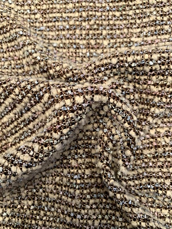 Italian Classic Boucle Tweed Jacket Weight Suiting - Cream / Brown / Pastels