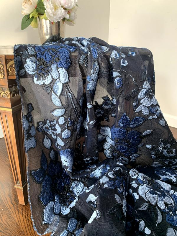 Lela Rose Couture Floral with Metallic Fil Coupe - Navy / Blue