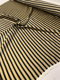Horizontal Striped Printed Silk Charmeuse - Black / Khaki Gold
