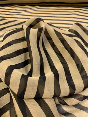 Horizontal Striped Printed Silk Chiffon - Black / Khaki Gold