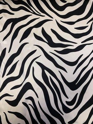 Zebra Pattern Printed Silk Charmeuse - Black / Pale Cream