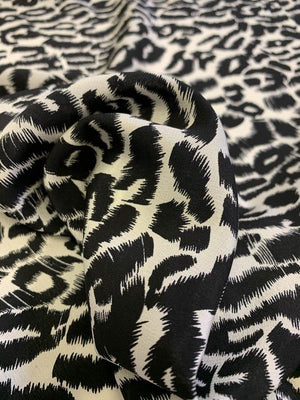 Animal Pattern Printed Silk Crepe de Chine - Black / Ivory