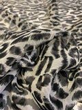 Animal Pattern Printed Silk Chiffon - Black / White