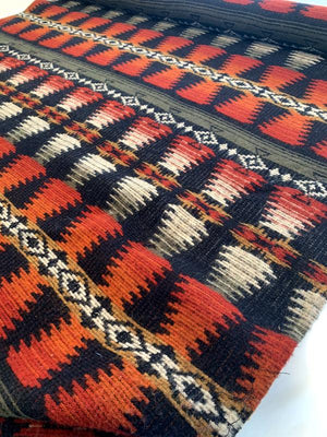 Italian Southwestern Ethnic Mohair-Like Wool Coating - Burnt Orange / Black / Olive / Beige