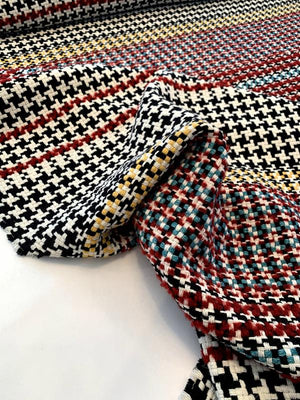 Italian Houndstooth and Striped Woven Suiting - Black / White / Yellow / Red / Teal