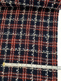 Italian Chanel-Look Plaid Boucle Tweed - Navy / Red / Off-White