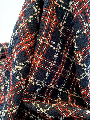 Italian Chanel-Look Plaid Tweed Boucle Suiting - Navy / Red / Off-White