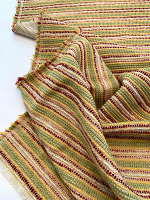 Italian Woven Striped Cotton Blend Tweed Suiting - Red / Yellow / Lime / Off-White