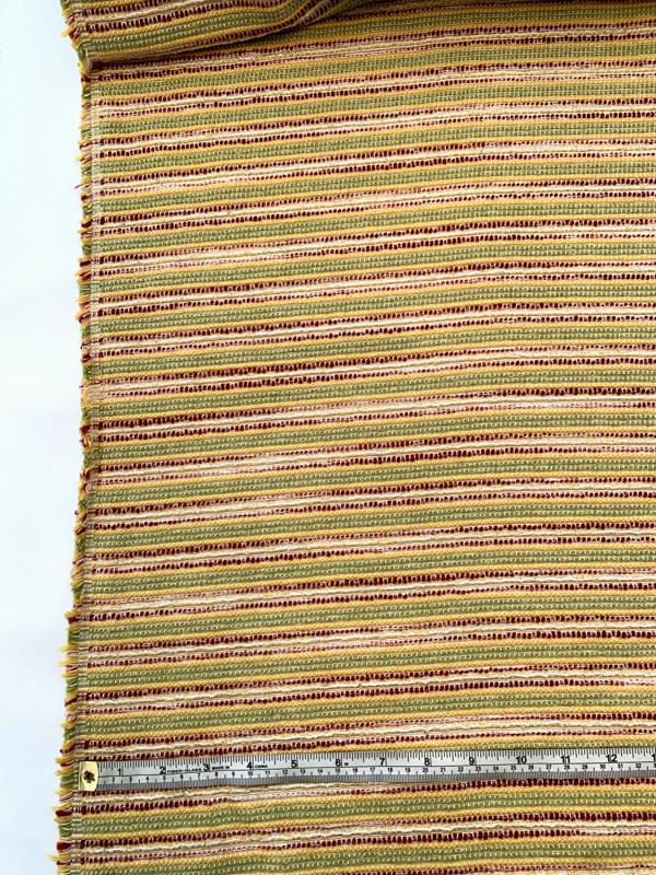 Italian Woven Striped Cotton Blend Tweed - Red / Yellow / Lime / Off-White