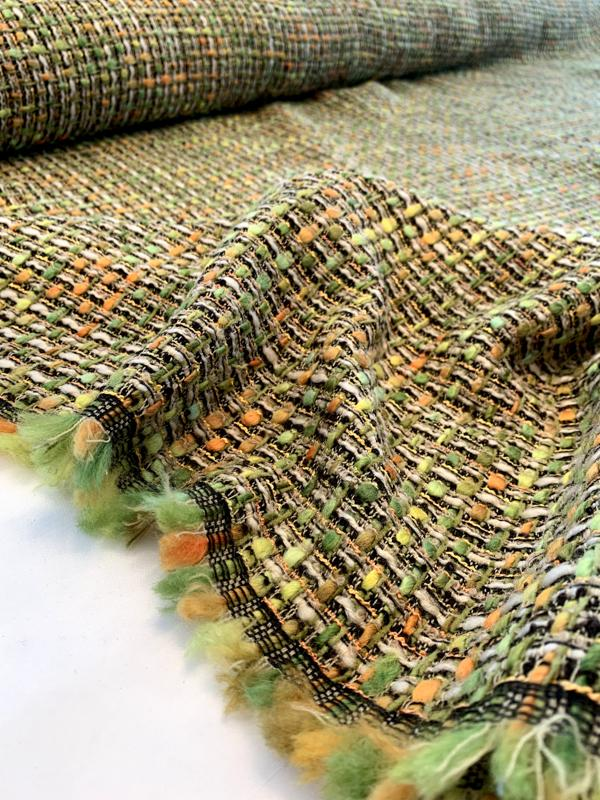 Italian Classic Couture Tweed - Shades of Green / Orange / Ivory / Black