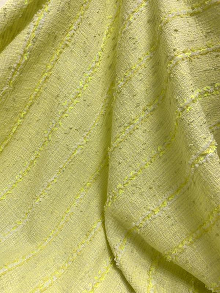 French Malhia Kent Striped Tweed - Yellow / Neon Yellow / White