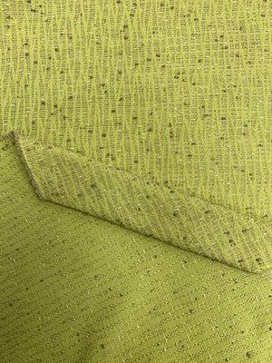 Wavy Pattern Boucle Tweed Suiting - Chartreuse / Taupe